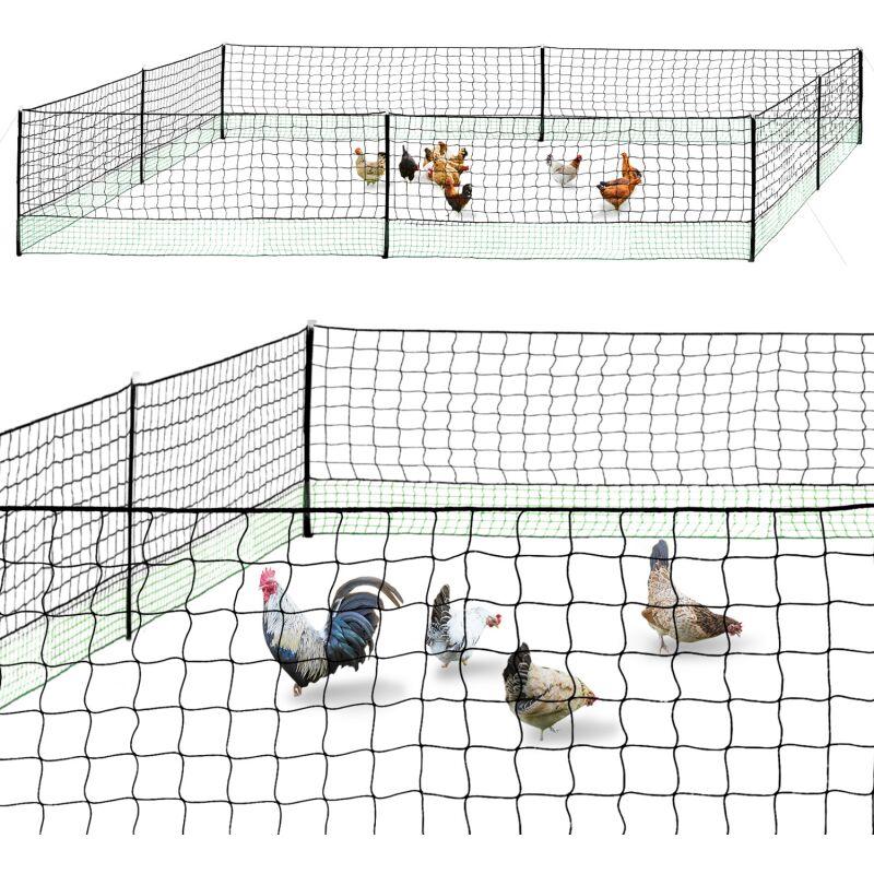 Kit clôture filet à poules 24 M avec porte 9 piquets double pointe