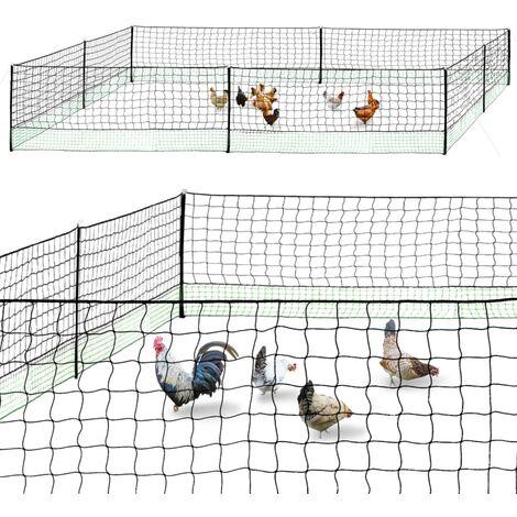 Kit clôture filet à poules 25 M avec porte 9 piquets double pointes