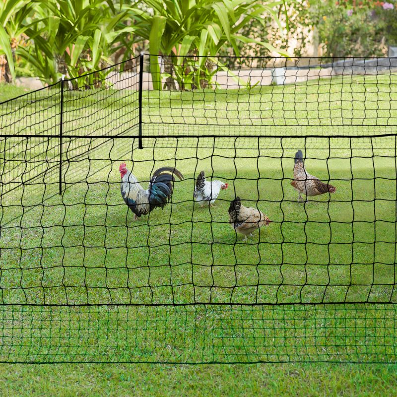 Kit clôture filet à poules 50 M avec porte 15 piquets double pointes