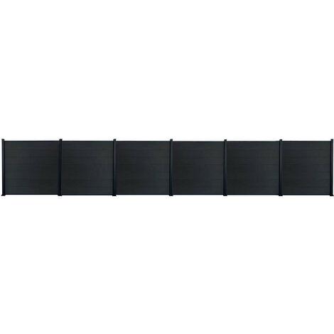Kit clôture H1.85xL11.29 m bois composite PHILLY gris structure aluminium set de base +5 extensions