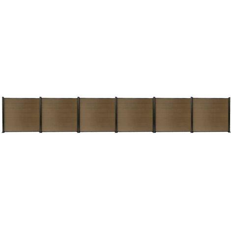 Kit clôture H1.85xL11.29m bois composite PHILLY marron structure aluminium set de base +5 extensions