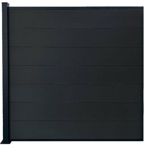 Kit clôture H185xL187 cm gris en bois composite