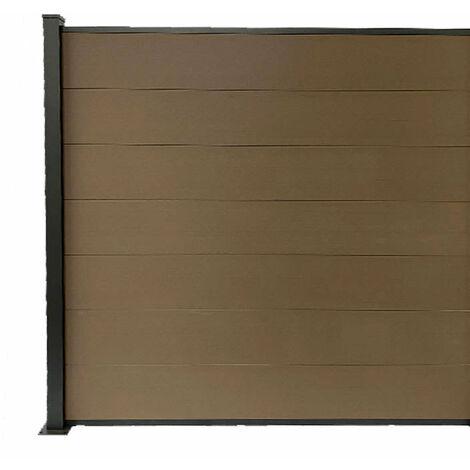 Kit clôture H1.85xL1.87m bois composite PHILLY marron structure aluminium extension