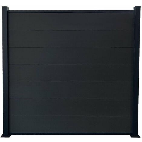 Kit clôture H185xL194 cm gris en bois composite
