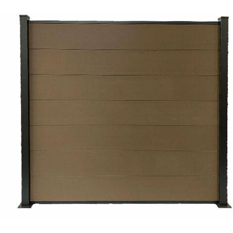 Kit clôture H1.85xL1.94 m en bois composite PHILLY marron et structure aluminium set de base