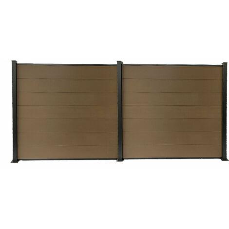 Kit clôture H1.85xL3.81 m en bois composite PHILLY marron et structure aluminium set de base + 1 extension
