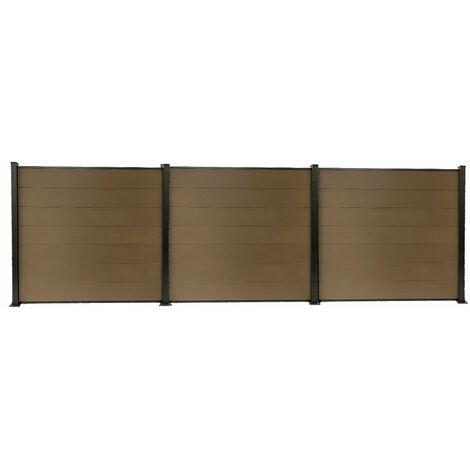 Kit clôture H1.85xL5.68 m bois composite PHILLY marron structure aluminium set de base +2 extensions