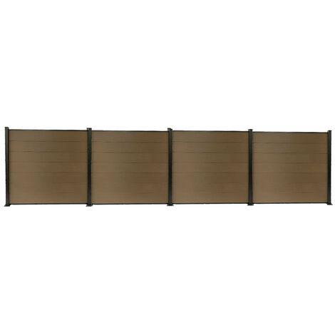 Kit clôture H1.85xL7.55 m en bois composite PHILLY marron et structure aluminium set de base + 3 extensions