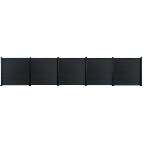 Kit clôture H1.85xL9.42 m bois composite PHILLY gris structure aluminium set de base +4 extensions