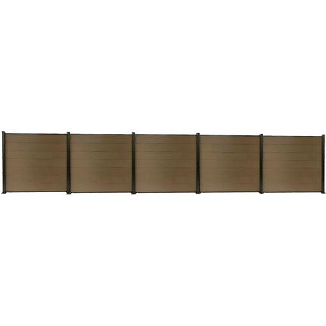 Kit clôture H1.85xL9.42 m en bois composite PHILLY marron et structure aluminium set de base + 4 extensions