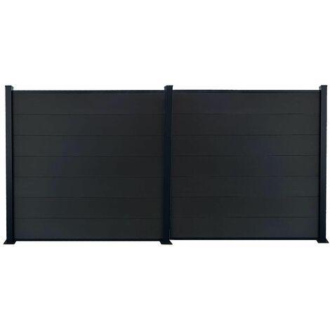 Kit clôture jardin panneaux occultant en bois composite et aluminium - Set de base + 1 extension : longueur 3,81m