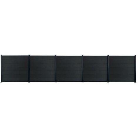 Kit clôture jardin panneaux occultant en bois composite et aluminium - Set de base + 4 extensions : longueur 9,42m