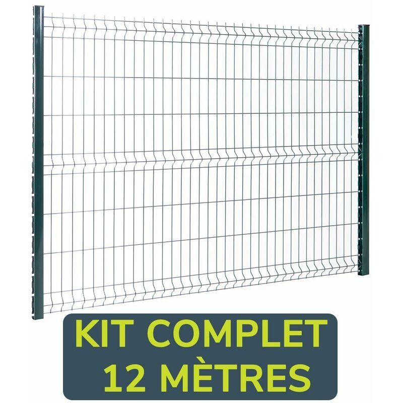 Easycloture - Kit clôture panneaux rigides fil Ø4mm - 12 mètres Hauteur : 1.23 Mètre Gris Anthracite