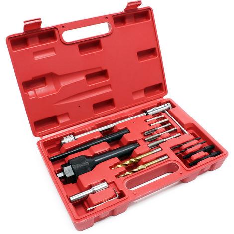 Kit coffret extracteur de bougie de préchauffage 16 pièces Réparation de filetage Démontage