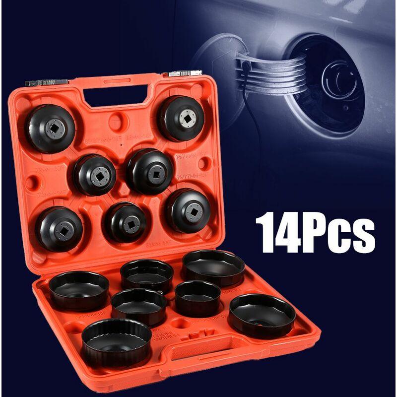 Jeobest - Kit Coiffes filtre à huile 14 pcs Clés de filtre à huile Adaptateur dans Clé filtre à huile outil bouchon Set Adapter - Noir-rouge