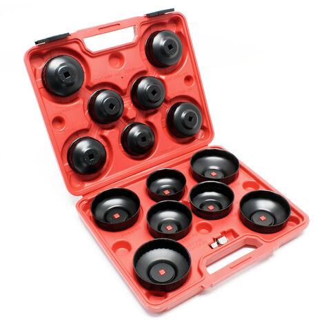 Kit Coiffes filtre à huile 14 pcs. Clés de filtre à huile Adaptateur inclus dans une boite à outil