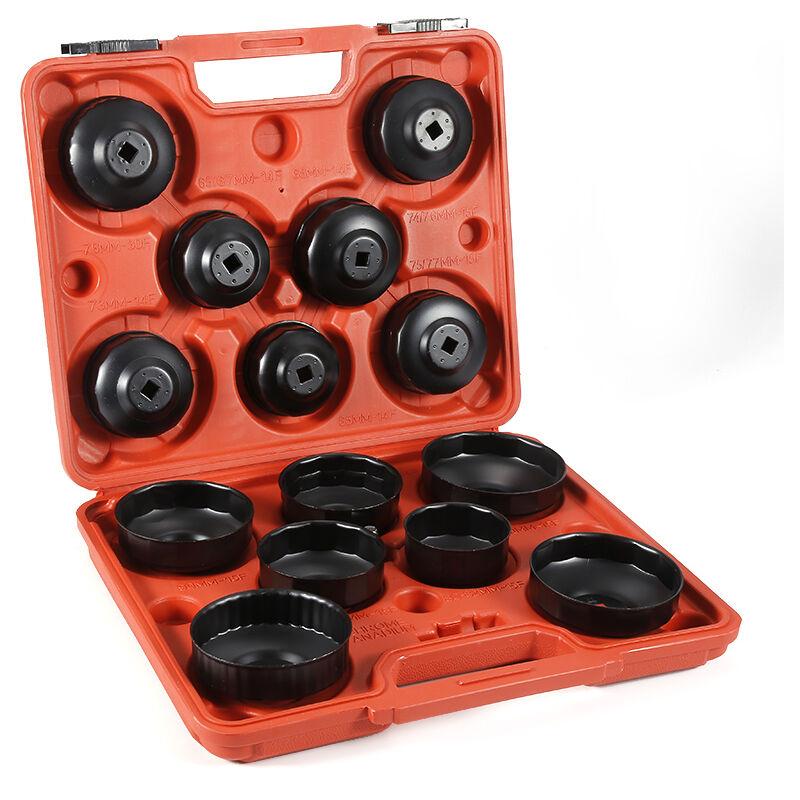 Yongqing - Kit Coiffes filtre à huile 14 pcs. Clés de filtre à huile Adaptateur inclus dans une boite à outil - Rouge-noir