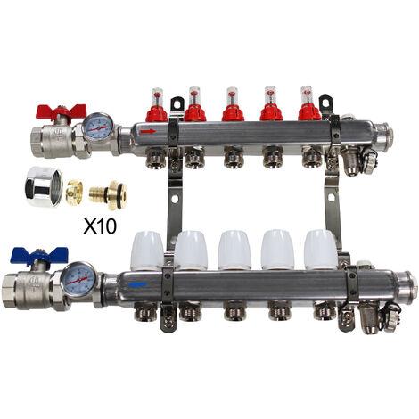 """Kit Collecteur INOX 1"""" PCBT - 5 départs mâle 3/4"""" + 10 raccords eurocone PER 16x1,5"""