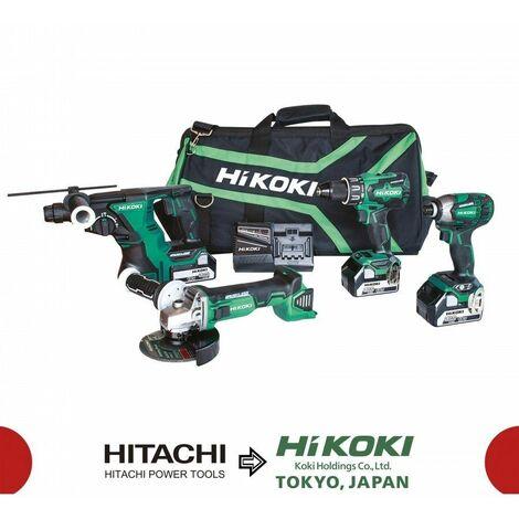 Kit Combo Brushless 18V - 5.0Ah (DH18DBLW4 + DV18DBSLW3 + G18DBLW7 + WH18DBDL2W4) HIKOKI KC18DG4L