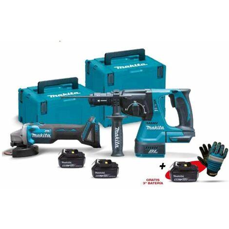 Kit combo con Miniamoladora DGA504Z y Martillo Ligero DHR243Z DLX2125TJ1 MAKITA PRK00319