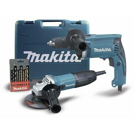 Kit Combo Miniamoladora GA4530R + Taldro percutor HP1631 MAKITA DK0049X1