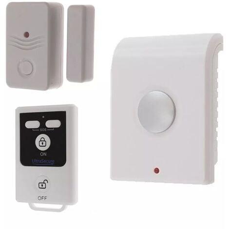 Kit compact autonome sans-fil : Sirène intérieure + détecteur d'ouverture de porte/fenêtre + télécommande (gamme BT)