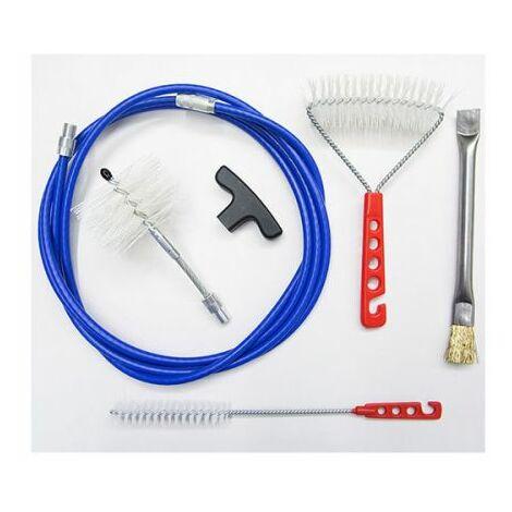 Kit complet 3 mt conduit de fumée nettoyage professionnel poignée poêle à pellets, granulés brosse en nylon 80 mm plus articulé, poêle à brosse. Il comprend une brosse en laiton pour brosse brasero nylon et murs poêle.