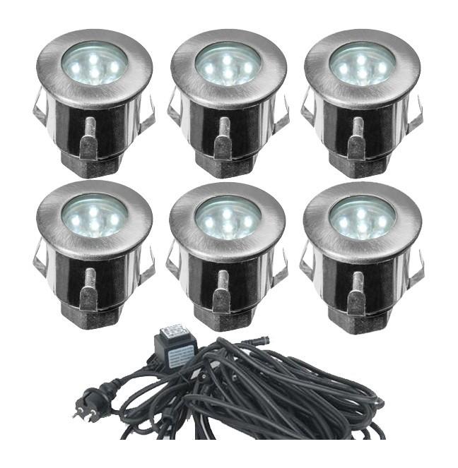 Kit Complet 6 Mini Spots Encastrables X 0.3W 12V LED | Blanc Froid 6000k    DEC/KITSOL 6ET