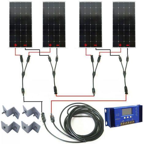 KIT COMPLET 600WAT OFF GRID: Panneau solaire mono 4x160W pour caravane de bateau 24V RV