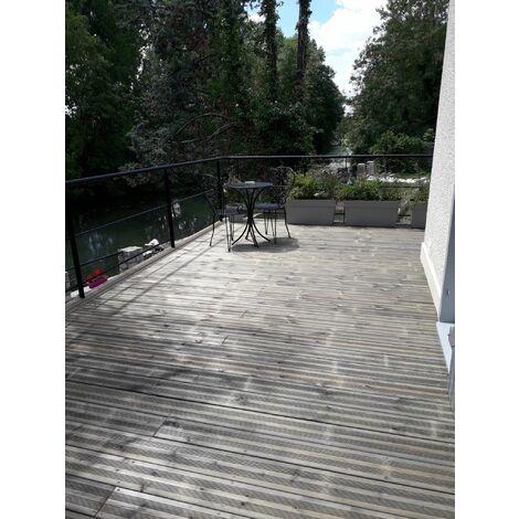 [KIT COMPLET] 80m2 Terrasse Bois Pin Autoclave Gris Classe 3 (compris Lambourdes, Visseries Et Livraison Sur Rendez-vous)