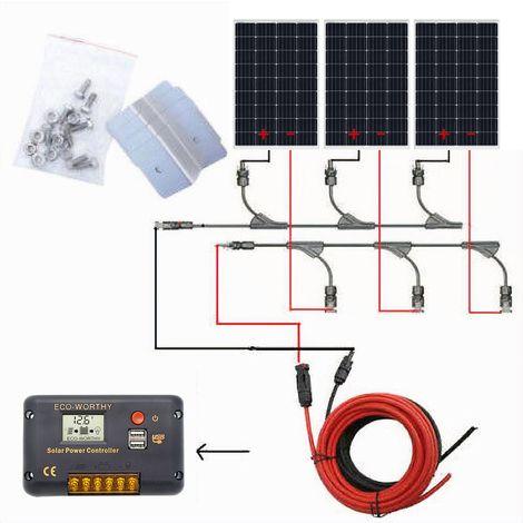 Kit complet de panneau solaire 360W: panneau solaire 120W PV 18V pour voiture de bateau RV à la maison 12V