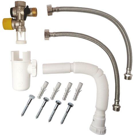 Kit complet de raccordement chauffe-eau avec Groupe de sécurité eau calcaire