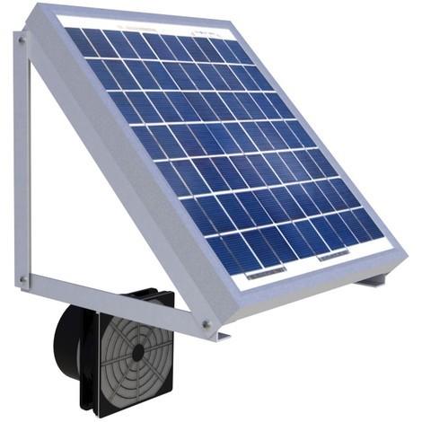 Kit complet de ventilation solaire 5W Fixations, batterie & aéraulique 100m3/h   Aéraulique extérieure - ventilateur à l'intérieur