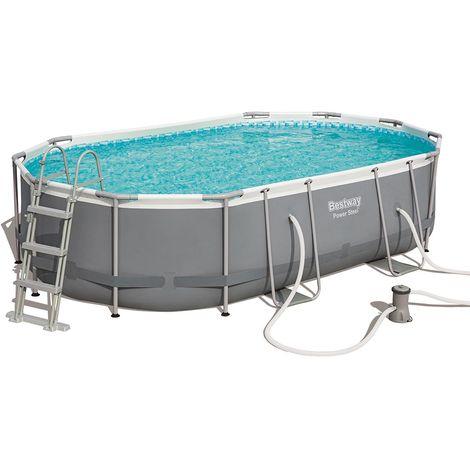 Kit complet piscine tubulaire Bestway POWER STEEL FRAME POOLS ovale 488cm x 305cm x 107cm filtration cartouche