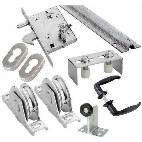 Kit complet portail coulissant roue acier gorge en U à encastrer ESTEBRO - plusieurs modèles disponibles
