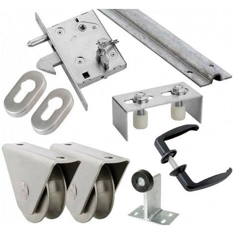 """main image of """"Kit complet portail coulissant roue acier gorge en U en applique ESTEBRO - plusieurs modèles disponibles"""""""