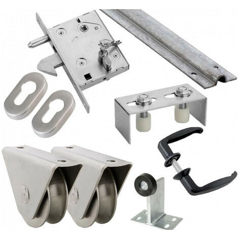 Kit complet portail coulissant roue acier gorge en U en applique ESTEBRO - plusieurs modèles disponibles