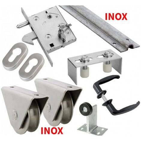 Kit complet portail coulissant roue inox gorge en U en applique ESTEBRO - plusieurs modèles disponibles