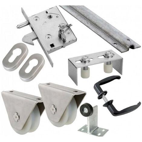 Kit complet portail coulissant roue nylon gorge en U en applique ESTEBRO - plusieurs modèles disponibles