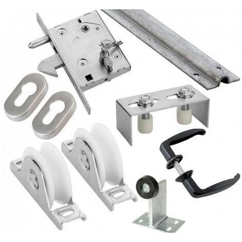 Kit complet portail coulissant roue nylon gorge en U encastré ESTEBRO - plusieurs modèles disponibles