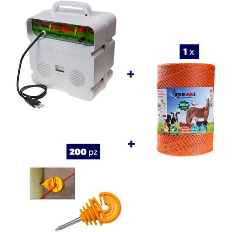 Kit Complet pour Clôture Électrique : 1 x Electrificateur 220V + 1 x Fil 1000 MT 4 Mm² + 200 pcs Isolateur pour Piquets en Bois - Clôture Électrifiée pour Animaux Chevaux Chiens Vaches Poules