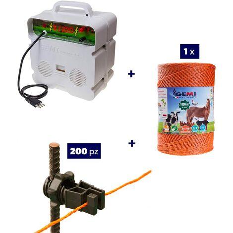 Kit complet pour clôture électrique : 1 x ELECTRIFICATEUR 220V + 1 x Fil 1000 MT 4 Mm² + 200 pcs Isolateur Pour Piquets En Fer - clôture électrifiée pour animaux sangliers chien chevaux