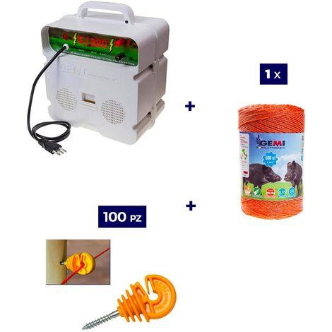 Kit Complet pour Clôture Électrique : 1 x Electrificateur 220V + 1 x Fil 500 MT 6 Mm² + 100 pcs Isolateur pour Piquets en Bois - Clôture Électrifiée pour Animaux Chevaux Chiens Vaches Poules