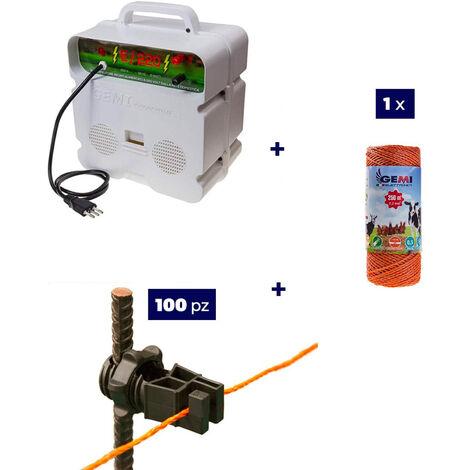 Kit Complet pour Clôture Électrique : 1 x Electrificateur 220V + 1x Fil 250 MT 2,2 Mm² + 100 pcs Isolateur pour Piquets en Fer - Clôture Électrifiée pour Animaux Chevaux Chiens Vaches Poules