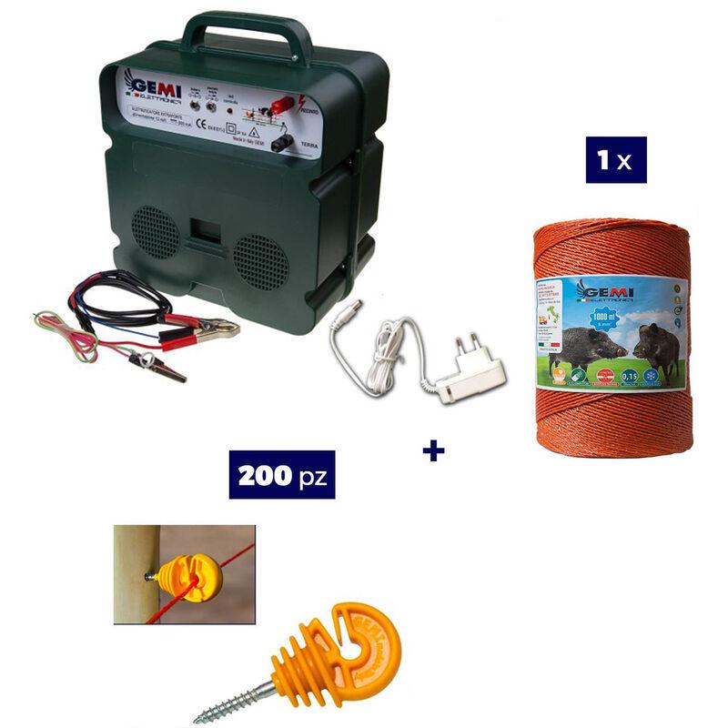 Kit Complet pour Clôture Électrique : 1 x Electrificateur B12 Double Alimentation 12 V / 220 V + 1x Fil 1000 MT 6 Mm² + 200 pcs Isolateur pour