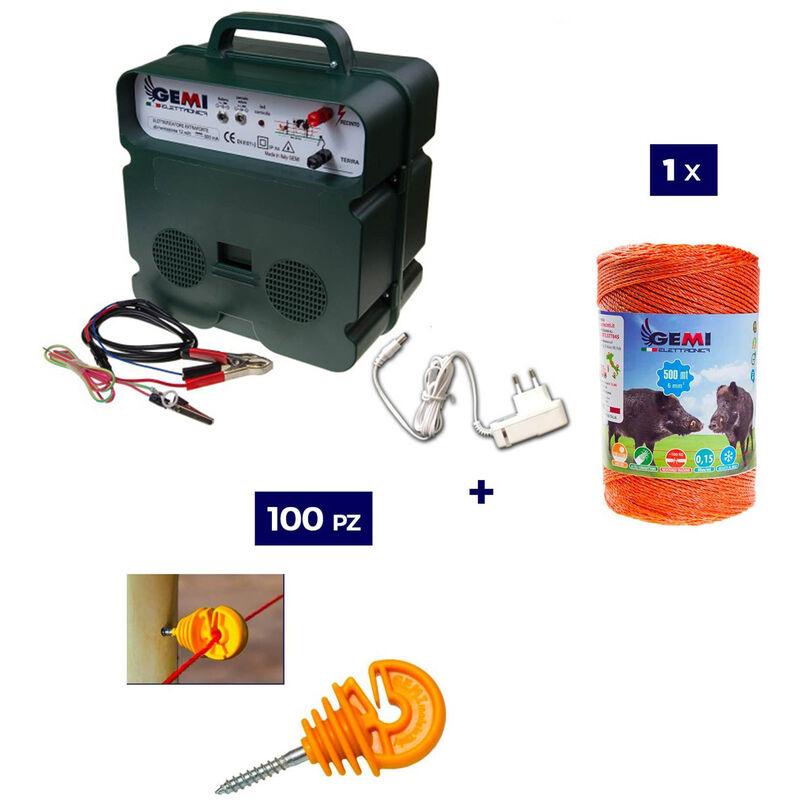 Kit Complet pour Clôture Électrique : 1 x Electrificateur B12 Double Alimentation 12 V / 220 V + 1x Fil 500 MT 6 Mm² + 100 pcs Isolateur pour Piquets