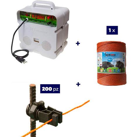 Kit complet pour clôture électrique : 1x ELECTRIFICATEUR 220V + 1 x Fil 1000 MT 6 Mm² + 200 pcs Isolateur Pour Piquets En Fer - clôture électrifiée pour animaux Chevaux Chiens Vaches Poules