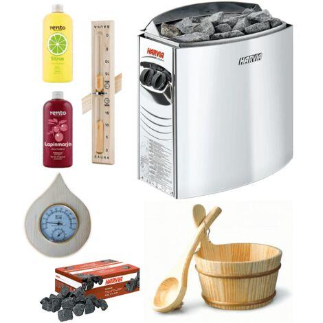 Kit complet sauna harvia 4.5 kw + aromathérapie seau louche thermometre hygrometre sablier en bois et pierres volcaniques 20kg