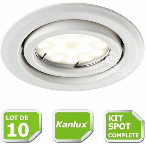 Kit complete de 10 Spots encastrable blanc orientable marque Kanlux avec GU10 LED 5W Blanc Froid 6000K
