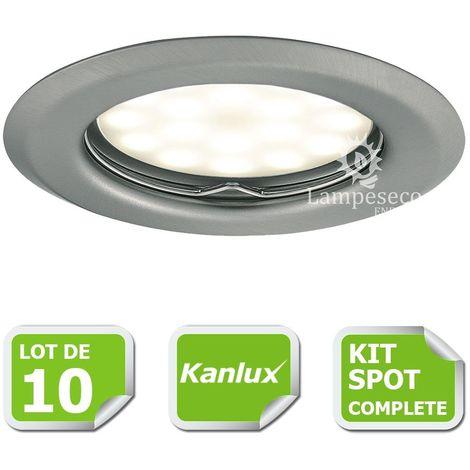 Kit complete de 10 Spots encastrable chrome mat marque Kanlux avec GU10 LED 5W Blanc Chaud